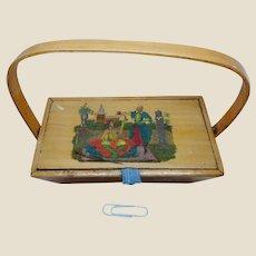 Small Georgian painted sewing basket. c 1800