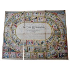 Circa 1811 board game. Antique hand coloured etching.