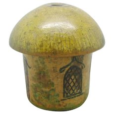 A small painted Tunbridge Ware cotton pot. c 1800