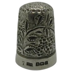 A blackberry design silver thimble. HM. 1905 - Red Tag Sale Item