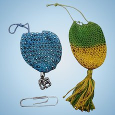 Two tiny netted / knitted purses for a doll. 19thc