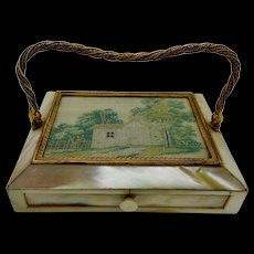 A French mother of pearl and petit point box. c 1830
