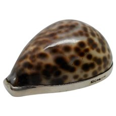 Swedish silver mounted cowrie shell snuff box.  Stockholm 1915.