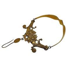 Sale Pending---------------------A rare, early 19th century ormolu wool hook. Knitting accessory.