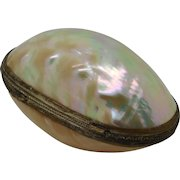 A mother of pearl egg shaped case. French c 1880