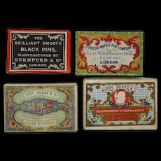 Four pin boxes -decorative card. 19th century.