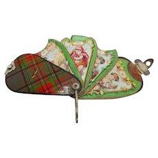 Tartan Ware 'fan' needle case. c1840