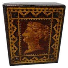A Tunbridge Ware stamp box- micro mosaic.