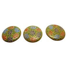 3 signed satsuma buttons. Japanese. 19thc