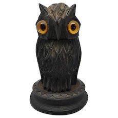 An Irish bog oak owl needle box. c 1880