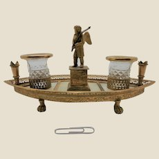 A French Palais Royal ormolu and mother of pearl writing stand. c 1800