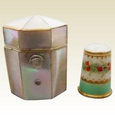 Thimble box and porcelain thimble. c 1860