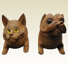 Pair- a cat and a dog inkwell. Black Forest. 19thc