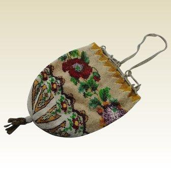A Victorian bead work bag / purse. c 1870