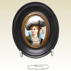 A miniature painting on porcelain of a lady. c 1860