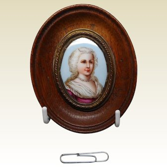 Another miniature painting on porcelain of a lady. c 1860