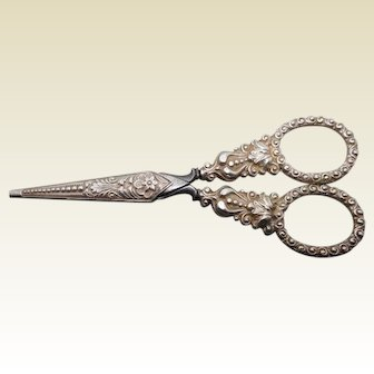 1830s English silver embroidery scissors and sheath