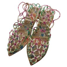 A pair of novelty bead worked shoes. 19th century.