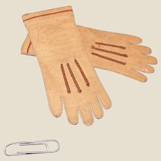A pair of leather gloves for a doll.  c 1900