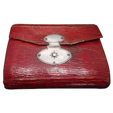 Dated 1807 English red leather hussif.
