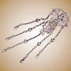 Sterling silver chatelaine clip and chains. Birmingham 1885.