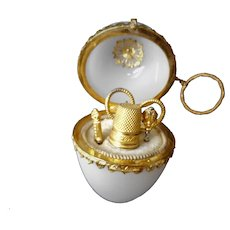 French egg shaped etui with mini gilt metal tools. c1860