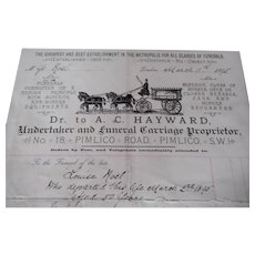 A Victorian funeral directors headed invoice with costs. London 1895.