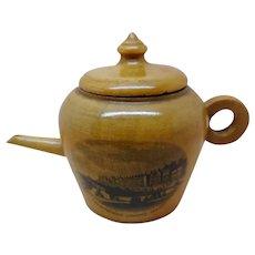 A teapot thimble box- Mauchline Ware.  c 1860