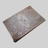 A lovely French engraved silver note book. c 1870