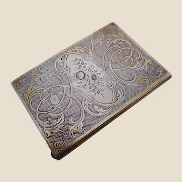 A French silver note book. c 1870