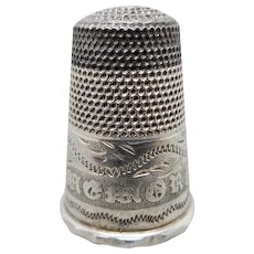 Child's silver  / steel topped thimble. c 1840