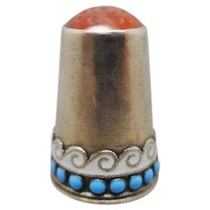 Norwegian silver and enamel thimble. Marius Hammer.