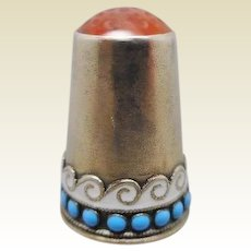 Norwegian silver and enamel thimble. Marius Hammer.