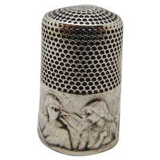 French silver thimble -'The Sewing Family'. c 1900