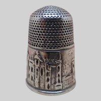 Antique Windsor Castle silver thimble.  c 1850.