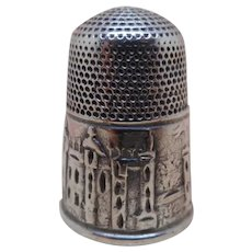 Antique Windsor Castle silver thimble.  c 1850.