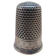 French silver thimble with star border. c 1870