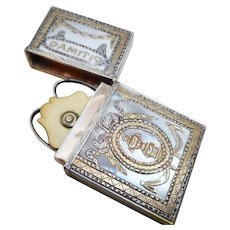 An 18th century mother of pearl case with gold leaf decoration. French c 1780.