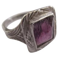 Ameythst 800 silver European Edwardian period ring