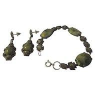 Fabulous vintage sterling silver green stone  bracelet & earring set