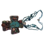 Huge jeweled cross, turquoise, carnelian necklace