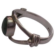 Modernist Chrysoprase sterling ring