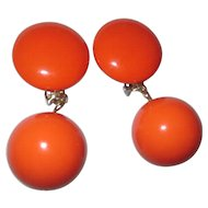 Collectable Led Bernard orange dangle earring