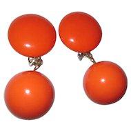 Collectable Led Bernard orange dangle earring