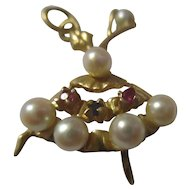Beautiful dancing Ballerna 14k saphire, rubies, pearls, charm