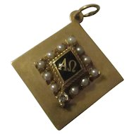 Beautiful 14k charm, diamond, pearls Logo charm
