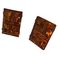 Vintage 1970's orange acrylic like glass earrings