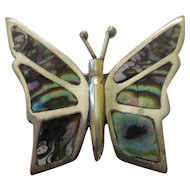Vintage sterling 925 shell butterfly brooch