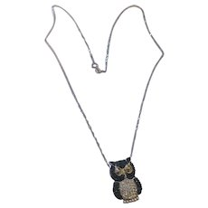 Sparkling blue and clear swarovski 925 owl, 10k white gold necklace