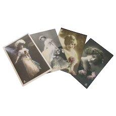 Vintage 1909-1910 Art Noveau hand tinted real photo postcards Glamour  ladies